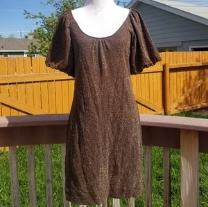 Bcbgmaxazria brown puff sleeve shimmer dress